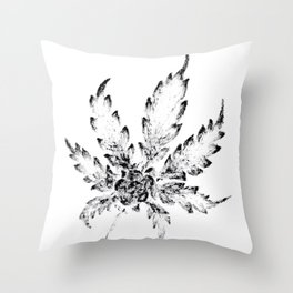 Black & White (Cannabis Resin Leaf) Throw Pillow