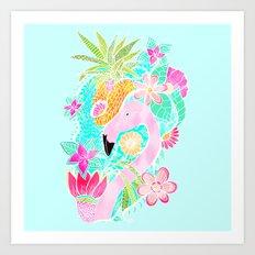 Tropical summer watercolor flamingo floral pineapple Art Print
