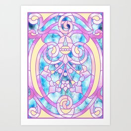 Art Nouveau Blue Pink and Yellow Batik Design Art Print