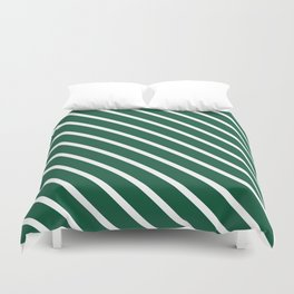 Teal The World (Green) Diagonal Stripes Duvet Cover