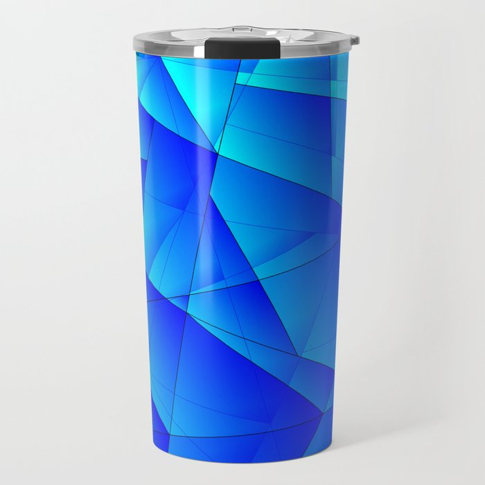 Bright sea pattern of heavenly and blue triangles and irregularly shaped lines. Travel Mug