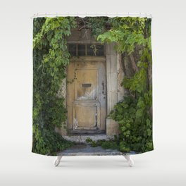 Provence Door covered with green vines Shower Curtain
