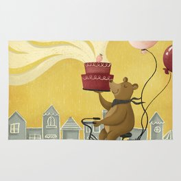 Bear on a Bike Illustration Rug