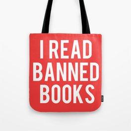 I Read Banned Books - White Font Tote Bag