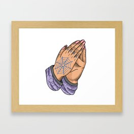 Praying Hands, Pink Nails Framed Art Print