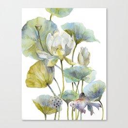 Lotus Plant and Fish Zen Design Watercolor Muted Pallet Botanical Art Canvas Print