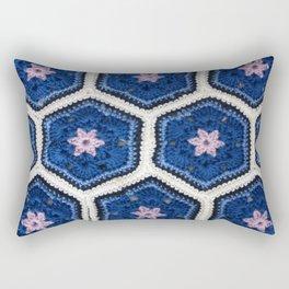 African Flower Crochet Art Rectangular Pillow