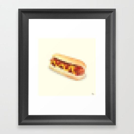 Censored Hot Dog Framed Art Print