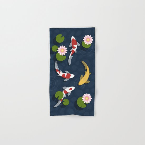 Japanese Koi Fish Pond Hand & Bath Towel