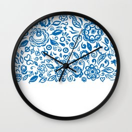 Beautiful folk art floral ornament with blue flowers on white background Wall Clock
