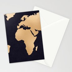 World Map Metallic Copper on Navy Blue Stationery Cards