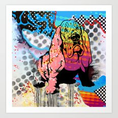 Basset pop art Art Print