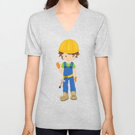Construction Worker, Brown Hair, Boy With Hammer Unisex V-Neck
