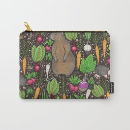 root vegetables and garden critters on dirt brown Carry-All Pouch