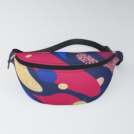 Psychedelic terrazzo galaxy blue night gold red Fanny Pack