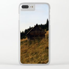 Cosy carpathian cabin Clear iPhone Case
