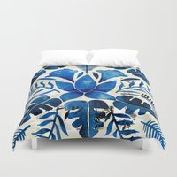 navy Duvet Covers featuring Tropical Symmetry – Navy by Cat Coquillette