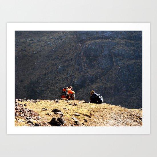 Short break, Huacahuasi pass, Peru Art Print