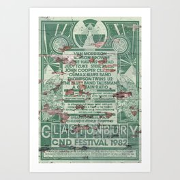 Distressed Glastonbury 1982 Poster Art Print
