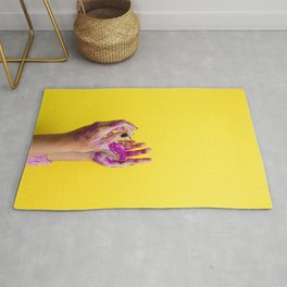 Yellow Paint Hands (Color) Rug