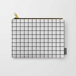White & Black Grid Carry-All Pouch