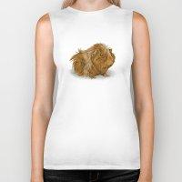 guinea pig Biker Tanks featuring grumpy old guinea pig  by Devon Busby Busbyart