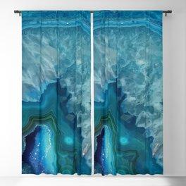 Teal Blue Agate slice Blackout Curtain