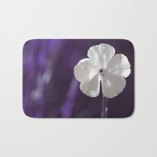 White Flower Art Bath Mat
