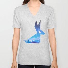 Origami Bunny (Nap on the cliff) Unisex V-Neck