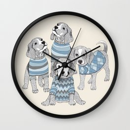 Blue Beagles Wall Clock