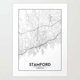 Minimal City Maps - Map Of Stamford, Connecticut, United States Art Print