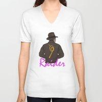 tomb raider V-neck T-shirts featuring Raider by edgarascensao