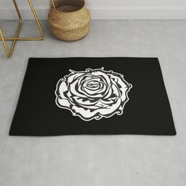 single rose black & white Rug