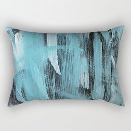 Turquoise Aqua Abstract Painting With Broad Brush Strokes Rectangular Pillow