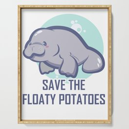 Manatee Retro Vintage Save The Floaty Potatoes design Gift Serving Tray