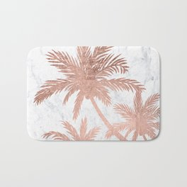 Tropical simple rose gold palm trees white marble Bath Mat