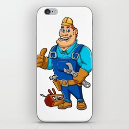 Handyman with wrench and tool box iPhone Skin