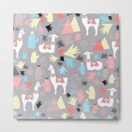 Geometric Llamas Metal Print
