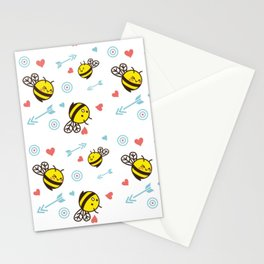 Cuddly Bees and Arrows Stationery Cards
