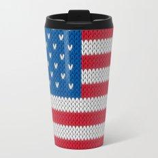 American Flag - knitted Travel Mug