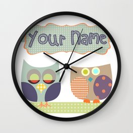 Personalized Home decor owls patchwork style in Nursery room Monogrammed Custom Kids Name Wall Decor Wall Clock