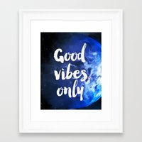 good vibes only Framed Art Prints featuring Good vibes only Earth by Good vibes and coffee