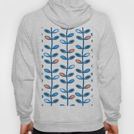 Retro Mid Century Modern Leaf Pattern in Classic Blues and Muted Orange Hoody