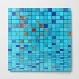 Blue And Red Geometrical Art - Block Party 1 - Sharon Cummings Metal Print