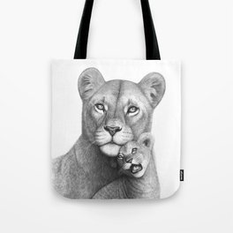 Lioness with a baby Tote Bag