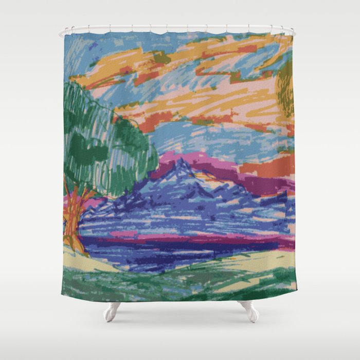 Felt tip pen kids drawing Mountain View With Tree Shower Curtain