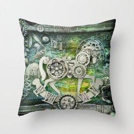 Mechanical Horse I Throw Pillow