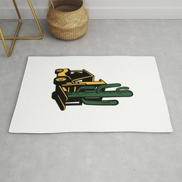 Forklift Truck Lifting Cactus Plant Retro Rug