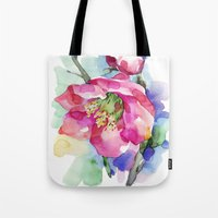 cherry blossom Tote Bags featuring Cherry Blossom by A cup of grey tea
