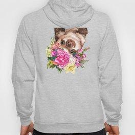 Flower Crown Baby Sloth in Pink Hoody